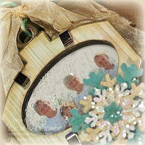 Beach Memories Ornament closeup with glitter