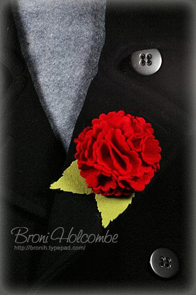 Red Felt Flower on Coat