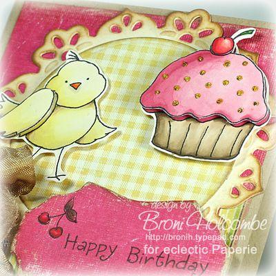 Birdy Birthday Cupcake closeup