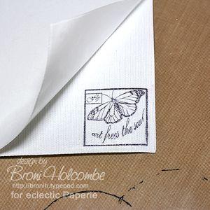 9-BWC6 butterfly on sticky side of canvas