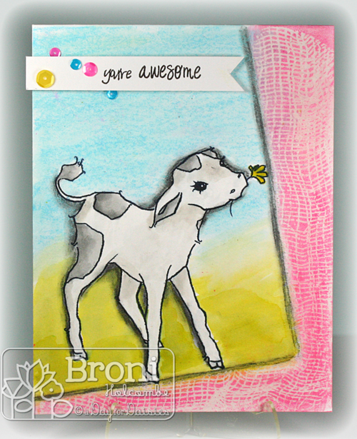 05-23-14 Sweet Cow mixed media card