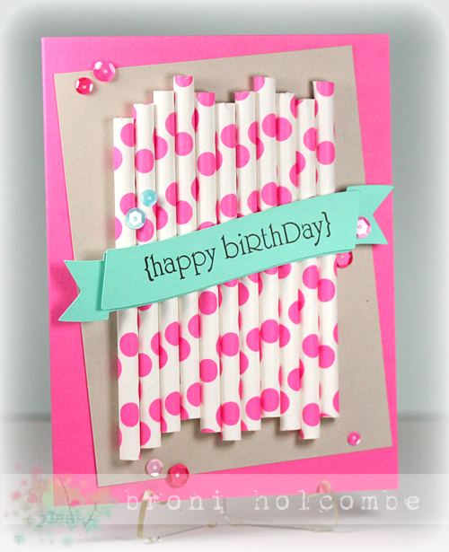 CTD294 Polka Dot Straws Happy Birthday