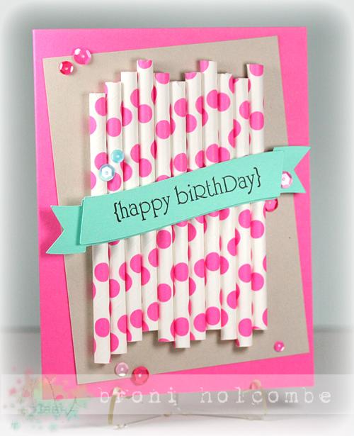 CTD294 Polka Dot Straws Happy Birthday
